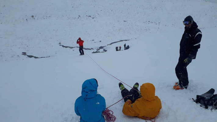 8 Lean conditions but still snow to go at, just. #winterskills #skitouring #winterclimbing